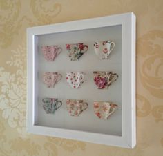VINTAGE TEA CUPS PICTURE 3D WALL ART IN WHITE BOX FRAME PAPER FLORAL CHINTZ CHIC