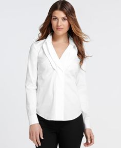 Pleated Collar Long Sleeve Shirt -- I'll wear this with my gold tassel necklace