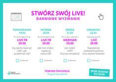 """Interaktywne! Patrzcie HARMONOGRAM!  Zaczynamy WYZWANIE LIVE już w poniedziałek 19 marca! Będziemy tworzyć LIVE'y <3 Dołączcie tutaj - olag.pl/wyzwanie lub napiszcie """"live""""- i zgarnijcie darmowe ćwiczenia checklisty oraz dostęp do webinaru <3   Chcesz prowadzić live'y na FB lub webinary na swojej stronie? Nie wiesz od czego zacząć jak się zmotywować jak się przełamać i przestać bać lub przerażają Cię kwestie techniczne? Dołącz do wyzwania! To tylko 4 dni a dzięki nim zaczniesz działać…"""