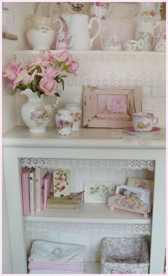 beautiful shabby chic display - love the white and pink, and especially the lace trim on the shelf - vintage / cottage