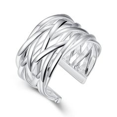 Eternity Love Women's 925 Sterling Silver Plated Opening Rings Anniversary Engagement Promise Wedding Bridal Rings Bands Wide Statement Fashion Rings for Lady Girl * Haven't you heard that you can find more discounts at this image link : Women's Fashion for FREE