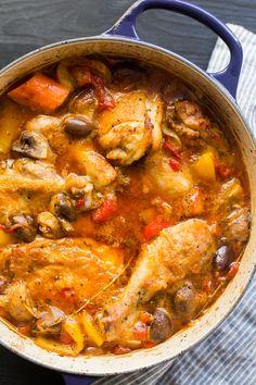 (Sub olive oil for ghee and broth for wine) Chicken Cacciatore (Pollo alla…