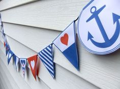 DIY Nautical Bunting Template (PDF) - Wedding, Bridal Shower or Party Decoration Nautical Bunting, Nautical Party, Nautical Nursery, Nautical Wedding, Seaside Wedding, Vintage Nautical, Bunting Garland, Bunting Flags, Buntings