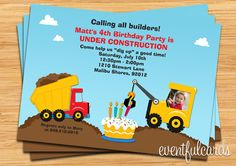 Construction Birthday Party Invitation  Printable by eventfulcards, $15.00