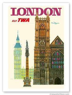 Vintage Travel Poster London TWA Airlines David Klein | eBay
