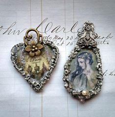 in Debby Anderson's Gilded Relics class Glass Jewelry, Metal Jewelry, Jewelry Art, Beaded Jewelry, Jewelry Design, Jewellery Diy, Heart Jewelry, Vintage Jewelry Crafts, Handmade Jewelry
