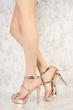 Rose Gold Metallic Strappy T-Strap Open Toe Platform Pump High Heels Faux Leather