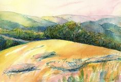 Original watercolor landscape painting Landscape Memory No. 5