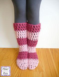 Strawberry Blossom Slipper Socks, free crochet pattern from Fiber Flux