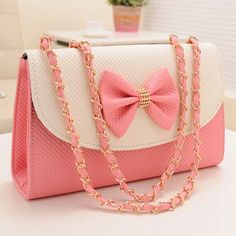 Adorable Pink Bow Knot Messenger Bag on Luulla