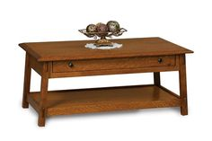 Amish Colbran Open Coffee Table with Drawer