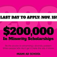 LAST DAY TO APPLY for $200000 in minority scholarships is tomorrow November 15th. Don't miss out on this opportunity to start your creative career! There has never been a better time. Get your application at the LINK IN BIO. #FOMO #minority #scholarships #apply #lastchance