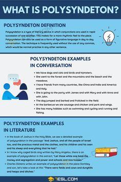 Polysyndeton Definition With Interesting Examples - 7 E S L English Grammar Rules, Good Grammar, Teaching English Grammar, English Writing Skills, Teaching Writing, English Lessons, English Vocabulary, English Language, Learn English