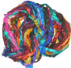 Sari SILK 100g Ribbon Art Yarn Multi Parrot