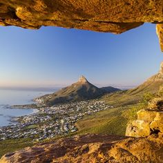 View of Lion's Head & Camps Bay as seen from the Twelve Apostles, Cape Town, South Africa Namibia, Le Cap, Safari, Cape Town South Africa, Out Of Africa, Cool Places To Visit, Live, Beautiful Places, Scenery