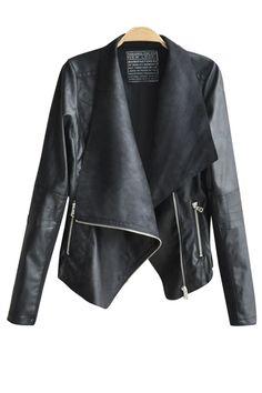 Black Faux Leather Moto