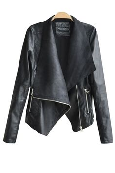 Turn-Down Collar Black PU Leather Jacket