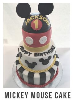 Mickey Mouse Cake 3 Tier Ears Simple Graphic
