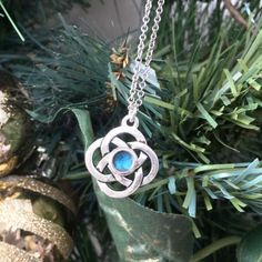 Great holiday gift!  Silver #Celtic Knot with Teal Center.  #Irish #Jewelry