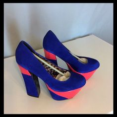 HP 3-13-16 Suede Blue with Hot Pink Heels New in box, no defects. Blue leather Suede with Pink patent. Big chunky retro look to these. Heels are 6 inches. Betsey Johnson Shoes Heels