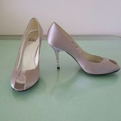 """Stuart Weizmann Cristal Evening Heels. only today! WEDDING SHOSE !!! Those are spectacular for evening or wedding or cocktail party,  new condition,  Cristal  heel, upper light gray silver satin. Open toe, Cristal accents on the front  heels are 4"""" Stuart Weitzman Shoes Heels"""