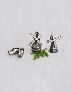 2 Vintage Dutch Charms - sterling silver windmills clogs - moving spinning wind mill pendants - Netherlands souvenirss by CuriosityCabinet on Etsy