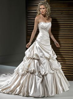 Pearl Satin Ruched Gathered Strapless Wedding Gown $303.99 Designer Wedding Dresses