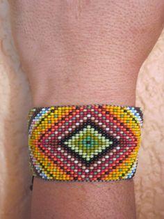 Huichol Inspired Rainbow Ojo de Dios Beaded Eye of God Statement Bracelet, by Pachamama Native Art, $45.00
