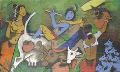 An urban woman recording her learnings about art, culture, mythology, spirituality and social changes as she travels through India and other countries Famous Artists Paintings, Indian Art Paintings, Indian Folk Art, Indian Artist, Mf Hussain Paintings, Krishna Painting, Hindu Art, Sculpture Art, Sculptures