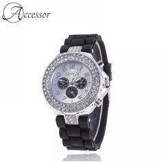 Rhinestone Silicone Sport Watch  Price: 34.99 & FREE Shipping Sport Watches, Casio Watch, All About Time, Sporty, Free Shipping, Accessories, Sporty Watch