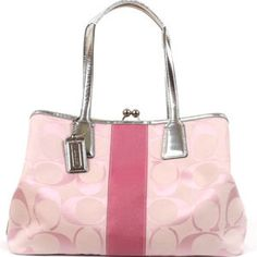 COACH: Signature Pink Stripe Frame Carryall Handbag   - Have this one and LOVE it!