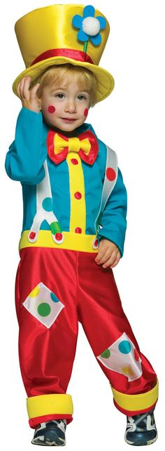 Clown Boy Toddler Costume Includes: Shirt, Pants/Suspenders, Hat. Shoes not included. Weight (lbs) 0.43 Length (inches) 15 Width (inches) 11 Height(inches) 1