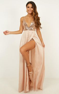 f180bbc234d Looking Smart Maxi Dress In Rose Gold Sequin Produced By SHOWPO