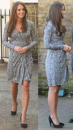 Kate Middleton debuts her baby bump in a MaxMara wrap dress.