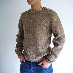 Crochet Saddle Stitch Top-down Seamless Men's Saddle Shoulder Sweater Knitting pattern by Kyoko Nakayoshi Mens Knit Sweater Pattern, Jumper Patterns, Sweater Knitting Patterns, Lace Knitting, Men Sweater, Knit Sweaters, Outfits Casual, Mode Outfits, Crochet Stitches Patterns