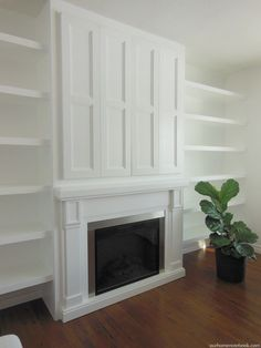 Built-In Fireplace and TV Nook With Doors