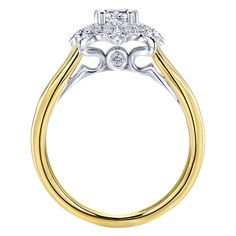14k Yellow/white Gold Diamond Halo Engagement Ring   Gabriel & Co NY   ER911363S0M44JJ.CSD4