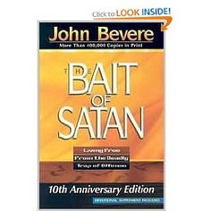 Reading now... this is an amazing book, but HAS stretched me/made me extremely uncomfortable. Description: Escape the enemy's deadly trap! The Bait of Satan exposes one of the most deceptive snares Satan uses to get believers out of the will of God-offense. Most people who are ensnared by the bait of Satan don't even realize it. Don't be fooled! You will encounter offense, and it's up to you how it will affect your relationship with God.