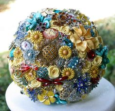 French country brooch bouquet. Deposit on a custom bouquet. Please read description below the picture. $75.00, via Etsy.