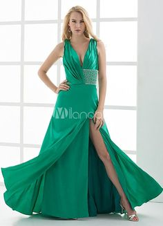 Sexy A-line Hunter Green Beading V-Neck Floor-Length Fashion Prom Dress. See More V-Neck at http://www.ourgreatshop.com/V-Neck-C936.aspx