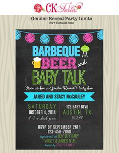 Gender Reveal or Baby Shower Invite by ckfireboots on Etsy, $12.00