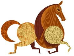 a horse - interesting image.  could this be quilled?  made with scrapbooking papers?