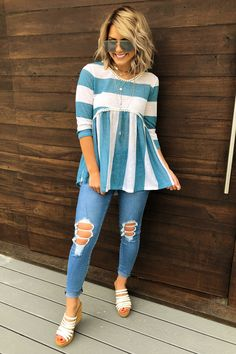 Share to save 10% on your order instantly! Wide Open Spaces Top: Milky Blue/White