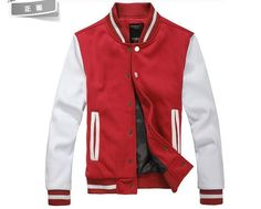 Red Wool Baseball Varsity Men Jacket