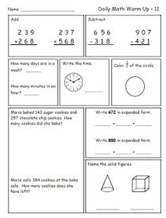 Math for 2nd grade---FREE Sample pages----great for morning work or math homework