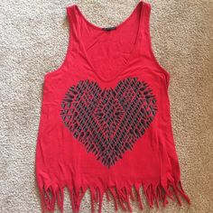 Heart fringe tank Super cute heart tank with fringe. In great condition. Fits loosely so would fit medium or large! Truly Madly Deeply Tops Tank Tops