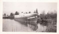 2 vintage photos Katherine v Michigan tug fishing boat Rogers city