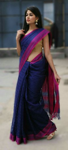 My anytime favourite! If you want to incorporate saris into your workwear, but are afraid of managing all that fabric, pleat and pin. That way you won't have to fiddle and will look more professional. Sari Design, Sari Azul, Indian Attire, Indian Wear, Indian Dresses, Indian Outfits, Beau Sari, Mode Hippie, Indian Designer Wear