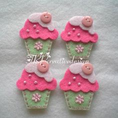 "cupcake inspiration...  I like how these have layers and the ""cherry on top"" is tilted to one side.  cute"