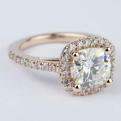 Square Halo Cushion Diamond Ring in Rose Gold (2.50 Carat)